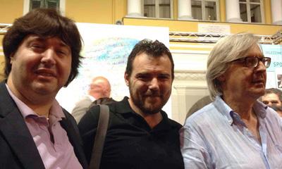 Davide Foschi con Giammarco Puntelli e Vittorio Sgarbi