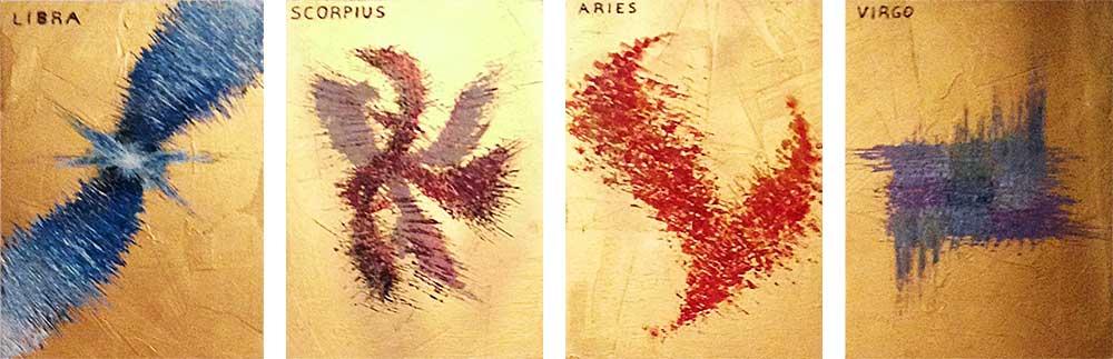 Olio su legno dorato  cm 30  x 20  - 2013  - (serie di 12 Icone Zodiacali con incisione a mano del nome in latino del segno)